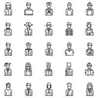 Avatars Outline Icon Set Vol1 vector