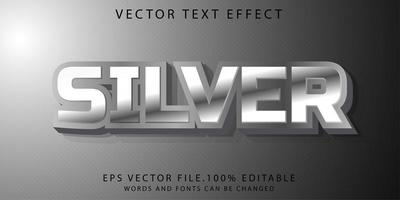 efecto de texto plateado vector