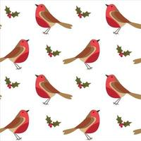 Seamless Christmas pattern with Robin bird, berries and leaves on white background. vector