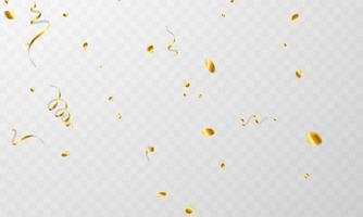 cintas de confeti de oro. celebración de lujo saludo tarjeta rica. vector