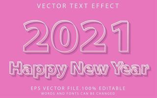 efecto de texto feliz año nuevo vector