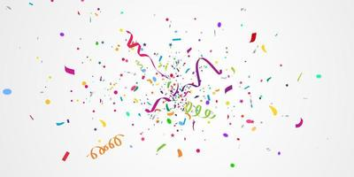 Confetti and colorful ribbons. Celebration background template with