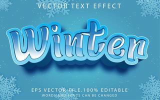 efecto de texto invierno vector