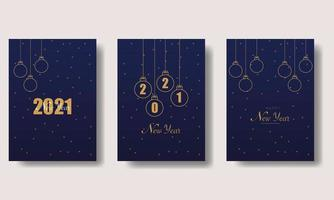 plantilla de tarjetas de año nuevo 2021 vector
