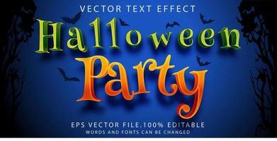 efecto de texto fiesta de halloween vector