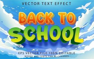 efecto de texto de regreso a la escuela vector
