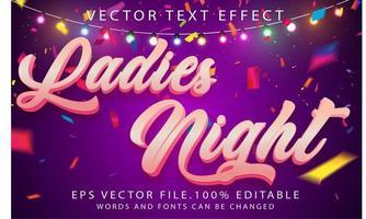 efecto de texto noche de damas vector