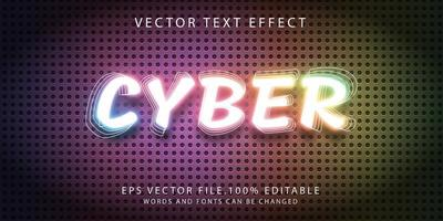 efecto de texto cibernético vector