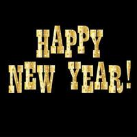 gold sparkles happy new year typography vector