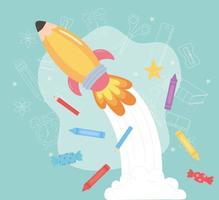 back to school, crayons pencils and rocket education cartoon