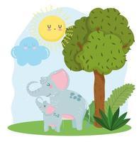 linda mamá y bebé elefantes hierba naturaleza salvaje dibujos animados vector