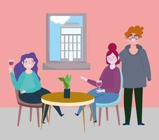 restaurante o café de distanciamiento social, pareja y mujer bebiendo vino en la mesa, coronavirus covid 19, nueva vida normal vector