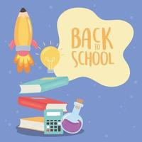 back to school, books calculator chemistry flask education cartoon vector