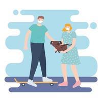 personas con mascarilla médica, mujer con perro y hombre en patineta, actividad de la ciudad durante el coronavirus vector