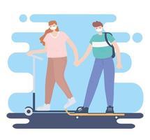 personas con mascarilla médica, pareja tomados de la mano en patines, actividad de la ciudad durante el coronavirus vector