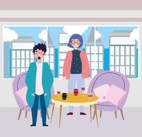 restaurante o café de distanciamiento social, pareja joven con tazas de café y vino en la mesa, coronavirus covid 19, nueva vida normal vector