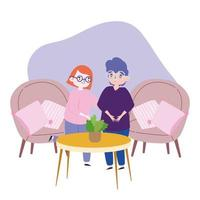 people party, meeting friends, couple together in living room vector