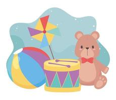 kids toys object amusing cartoon teddy bear drum ball and pinwheel vector