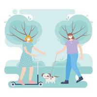 personas con mascarilla médica, mujer montando patineta y niña caminando con perro en el parque, actividad de la ciudad durante el coronavirus vector