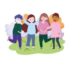 group of people together to celebrate a special event in the park vector