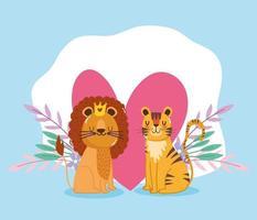 dibujos animados lindos animales león y tigre flores corazones amor adorables vector