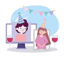 Fiesta en línea, reunión de amigos, videollamada, teléfono inteligente y pareja de computadora celebrando cumpleaños con vino vector