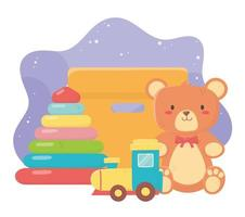 kids toys object amusing cartoon teddy bear pyramid train and cardboard box