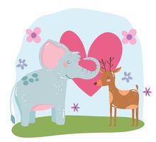 cute animals elephant and reindeer flowers hearts love adorable cartoon wild