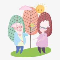 feliz día de los abuelos, abuelo dando flor abuela personajes dibujos animados vector