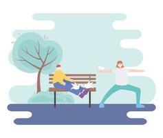 personas con mascarilla médica, ejercicio de estiramiento de mujer y niño sentado en un banco con palomas, actividad de la ciudad durante el coronavirus vector