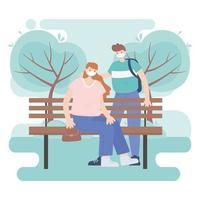 personas con mascarilla médica, pareja en un banco en el parque, actividad de la ciudad durante el coronavirus vector