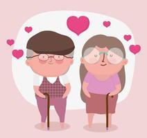 feliz día de los abuelos, linda pareja de ancianos con dibujos animados de bastones vector