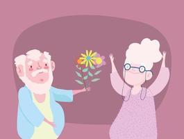 feliz día de los abuelos, abuelo dando flores a la abuela dibujos animados