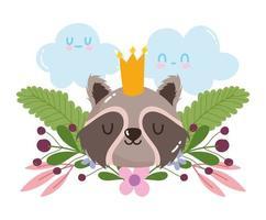 Lindo mapache animal con corona de flores follaje decoración de la naturaleza cartoon vector