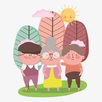feliz día de los abuelos, abuelos y abuela juntos en el parque de dibujos animados