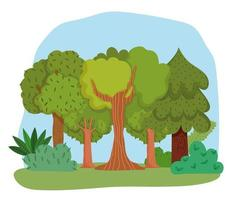 forest trees bushes grass leaves foliage greenery cartoon design vector