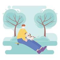 personas con mascarilla médica, niño sentado en patineta con perro en el parque, actividad de la ciudad durante el coronavirus vector