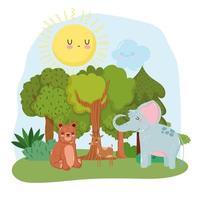 cute animals elephant bear and deer grass forest nature wild cartoon vector