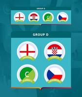 Football 2020 tournament final stage group D set vector