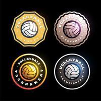 conjunto de logotipo de vector circular de voleibol