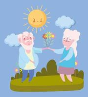 happy grandparents day, elderly grandpa and grandma with bouquet flowers cartoon vector