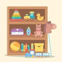 kids toys duck rocket bear ball books train object amusing cartoon wooden shelf vector