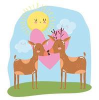 cute animals couple reindeer heart love adorable wild cartoon vector