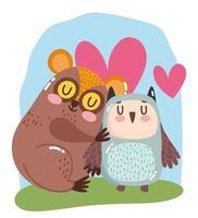 lindos animales de dibujos animados adorable pequeño tarso y búho corazones de amor vector