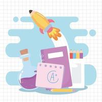 back to school, notebook pencils test tube and rocket education cartoon