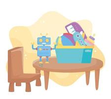 kids toys object amusing cartoon table chair with robot plane piano and ball vector
