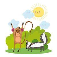 lindo mono y zorrillo en la hierba arbustos naturaleza salvaje caricatura vector