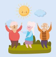 happy grandparents day, old men and woman together in the park vector