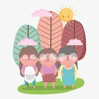 happy grandparents day, cute old grandmothers cartoon in the park vector