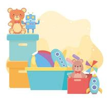 boxes and bucket with many cartoon kids toys vector